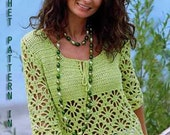 Woman summer sweater pullover S, M, L sizes in Pattern only, PDF Files