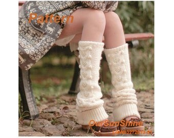 Knitting Pattern - Cream Wool Dotted Knitted Leg-warmers PDF Pattern - LGW03272013-01 - Instant Download
