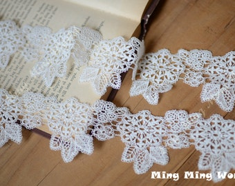 Cotton Embroidered Lace Trim - 2.5 Yards Ivory Flower Lace Trim (L70)