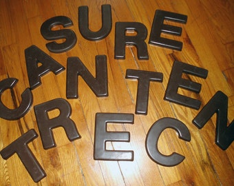 Vintage Sign LETTERS, 5.5 Inch Dark Brown, NOS
