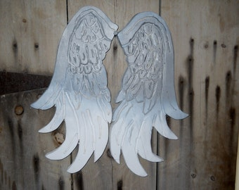 Angel Wings Ombre White and Grey Hand Carved Wood Angel Wings Shabby Chic Angel Wings Wall Decor Boho Shabby Angel Wings