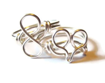 Valentines Day - Everlasting Love Ring Set,  Heart and Infinity Rings Custom Size
