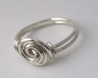 Silver Swirly Rosette Ring, Custom Size Wire Wrapped Ring