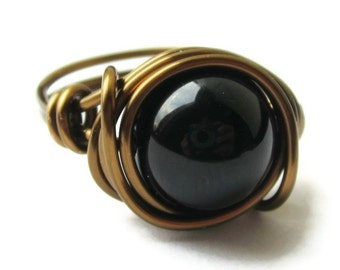 Boho Jewelry - Black Agate Cocktail Ring in Antique Brass - Gothic - Custom Size - CIJ - Christmasinjuly - 15% off Coupon code inside