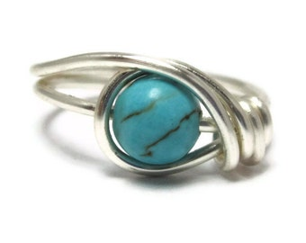 Gemstone Ring -  Turquoise Jewelry -  Custom Size Wire Wrapped Rings