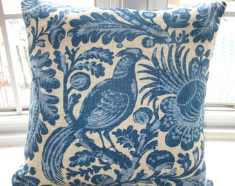 Blue Bird Toile  Pillow Cover.  Floral and Birds Designer fabric   18x18 Cushion case.
