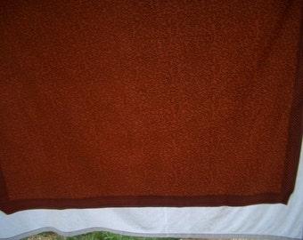 Vintage Tablecloth Cotton in Pumpkin and Brown Lattice Border