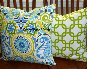 Decorative Throw Pillows - Set of Two 18 Inch Pillow Covers - Royal Blue, Green and White
