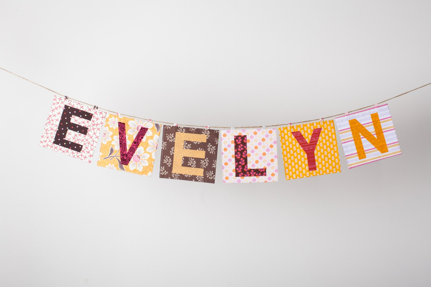 Custom Fabric Mix n Match Name Banner in the EVELYN Collection