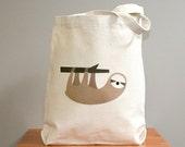 Canvas tote bag, sloth canvas tote bag, sloth tote, sloth bag.