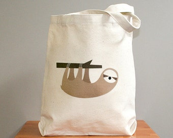 Canvas tote bag, sloth canvas tote bag, sloth tote, sloth bag.