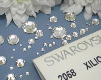 FREE UK postage - Swarovski Flat-Back Crystals 2058 - No Hot Fix - All Sizes - Platinum Foiled