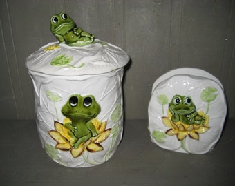 Frog Canister and Napkin Holder from Japan