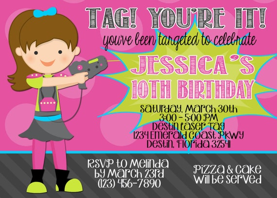 Laser Tag 5x7 Birthday Party Invitation Printable