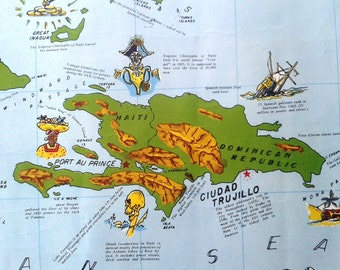 "Pictoral ""Historical Map of the Caribbean"" by W. P. Monan 1954"