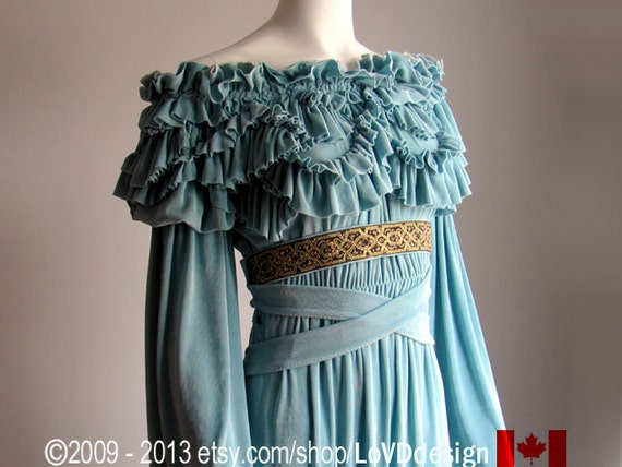 Final SALE. Wedding dress. Plus Size or any size. Aqua  Teal Sea Foam Green. Fairy Dress. Renaissance clothing. Renaissance clothes.