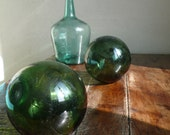 Vintage glass balls, sea floats, french, antique, nautical, fishermen, marine, ocean, green glass balls,  French vintage finds