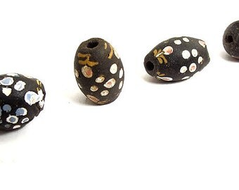 4 Black French Ambassador Venetian Glass Trade Beads Loose African 42866