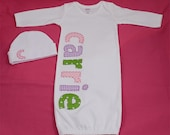 Hand Appliqued Personalized Infant Baby Girl Gown Pink Green Lavender with Matching Cap