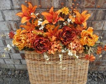 Autumn Wall Basket   Fall Wall Basket    NOW ON SALE    Elegant Floral Wall Basket    Door Decor  Autumn Decor