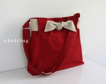 Stock SALE - Red Messenger Bag with Bow / Diaper bag / Cute bag / Travel bag / Tote bag / Shoulder / Cute / Hobo / Men Women - Sydney
