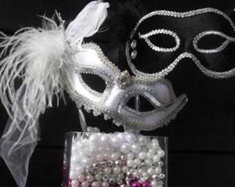 Bride and Groom WEDDING MASK Set Mardi Gras Masquerade Style- Elegant Black  Silver- Silver with Silver Trim White Feathers White veil piece