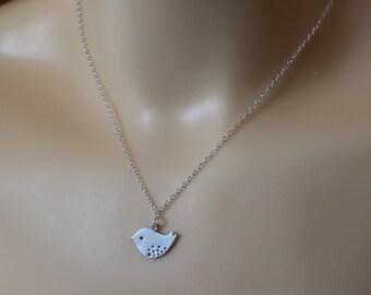 silver bird necklace , small bird necklace , bird pendant
