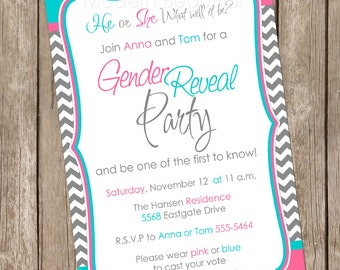 Gender Reveal Invitation Baby Reveal Invite printable invitation