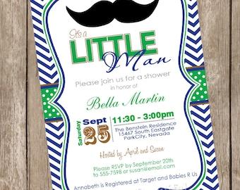 Chevron Mustache Baby Shower Invitation moustache, little man invitation, green, blue, Printable Invitation