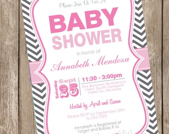 Girl Baby Shower Invitation Pink and Grey Chevron printable invitation 121202-K1-1D