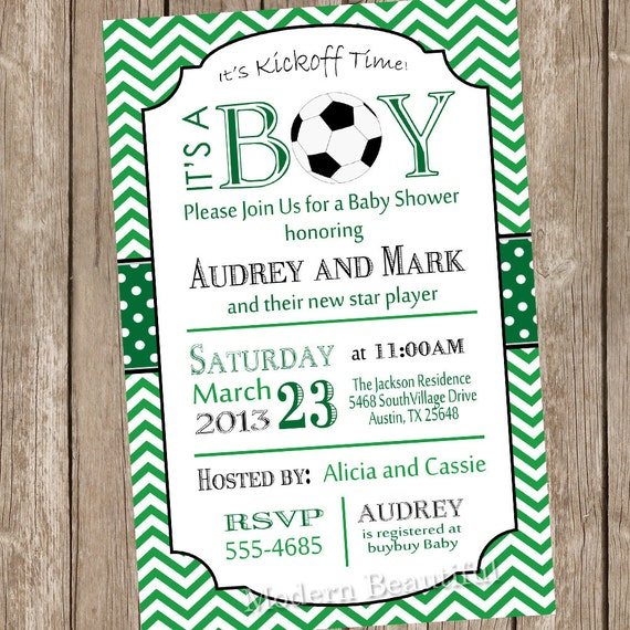 Chevron Soccer Baby Shower Invitation Soccer Green