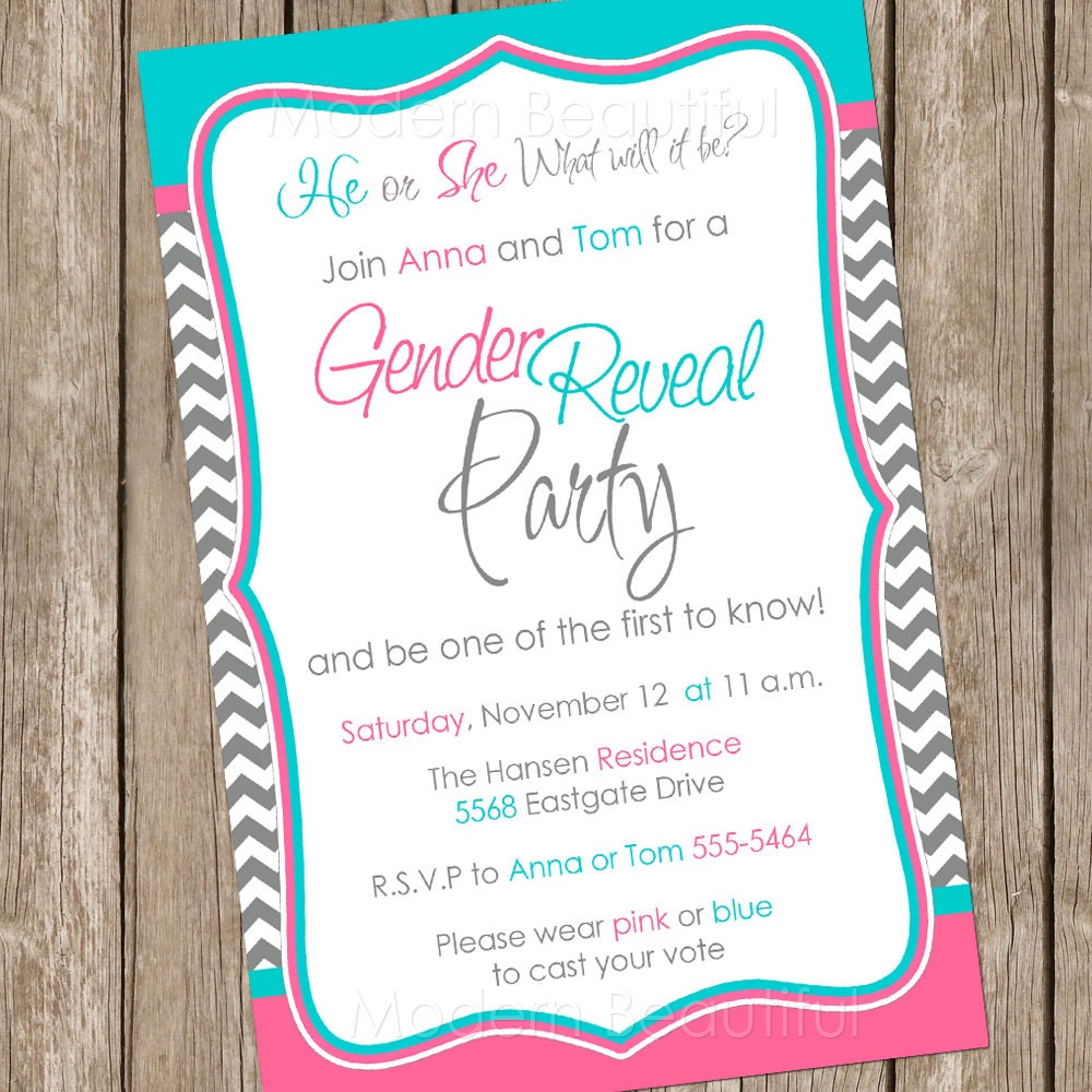 Gender Reveal Invitation Baby Reveal Invite Printable