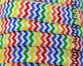Primary Rainbow Chevron Fold Over Elastic 5 yards