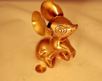 Vintage Brass Mouse with Large Ears