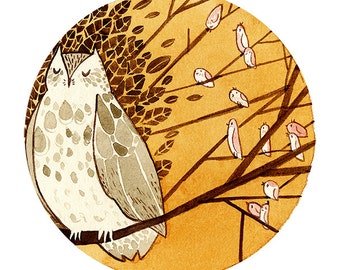 Aesop's Fables 'The Owl and the Birds' Watercolour Gouache Painting Illustration Giclee Art Print