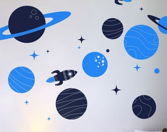 Space and Planet Wall Stickers Nursery Wall Art, Rocket and Solar System wall Stickers Kids Room Australian made