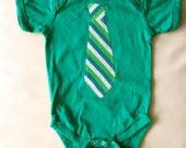 SALE Long tie onesie - Kelly green FREE SHIPPING