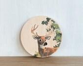 Paint by Number Circle Art Block 'Stag' - deer, buck, woodland, vintage look