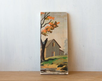 Paint by Number Art Block 'Fall Barn' - autumn, rural landscape, vintage art