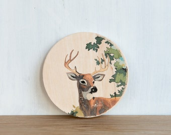 Paint by Number Circle Art Block 'Stag' - deer, buck, woodland, vintage look
