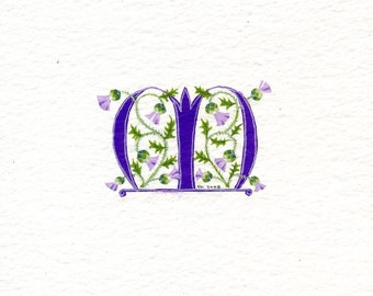 Initial letter 'M' in purple with Scots thistles birthday gift Mom sister friend