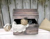 Rustic wooden chest Black color Country Farmhouse Style