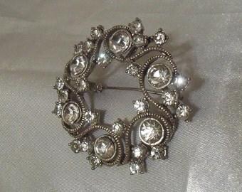 Vintage Rhinestone Pin, Art Nouveau Brooch, Stunning Rhinestone Art Deco Silver Brooch, Vintage Bridal Jewelry
