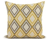 Geometric decorative pillows in taupe grey and mustard yellow | Modern decor couch sofa accent cushion cover | 18x18 throw pillow case