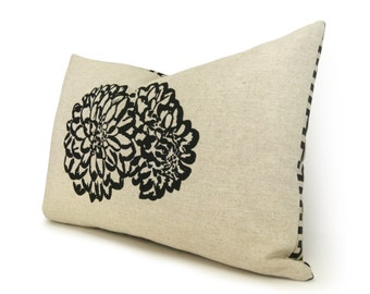 12x18 Lumbar Pillow Cover with Flower Print in Black, Natural Beige and Geometric Accent | Floral Decorative Throw Pillow Case | Modern Home