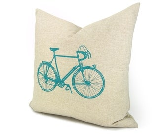 16x16 bicycle pillow cover | Decorative throw pillow cover | Gift for cyclist | Natural beige pillow case with turquoise vintage bike print