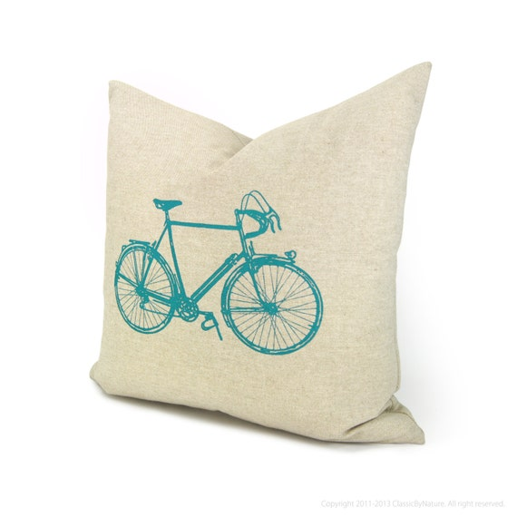 Bicycle Print Throw Pillow : Items similar to 16x16 bicycle pillow cover Decorative throw pillow cover Gift for cyclist ...