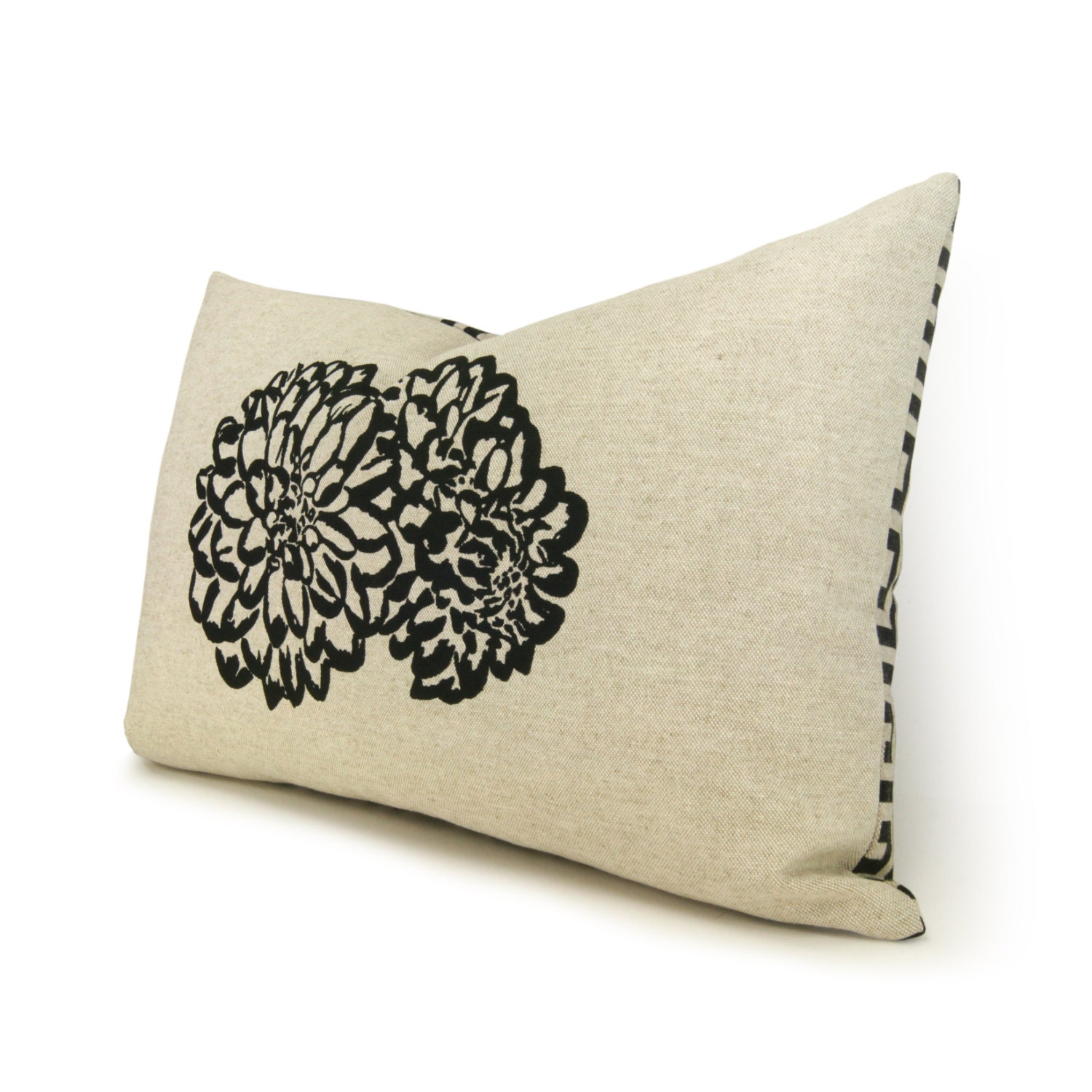 Sale 12x18 Lumbar Pillow Cover with Flower Print in Black