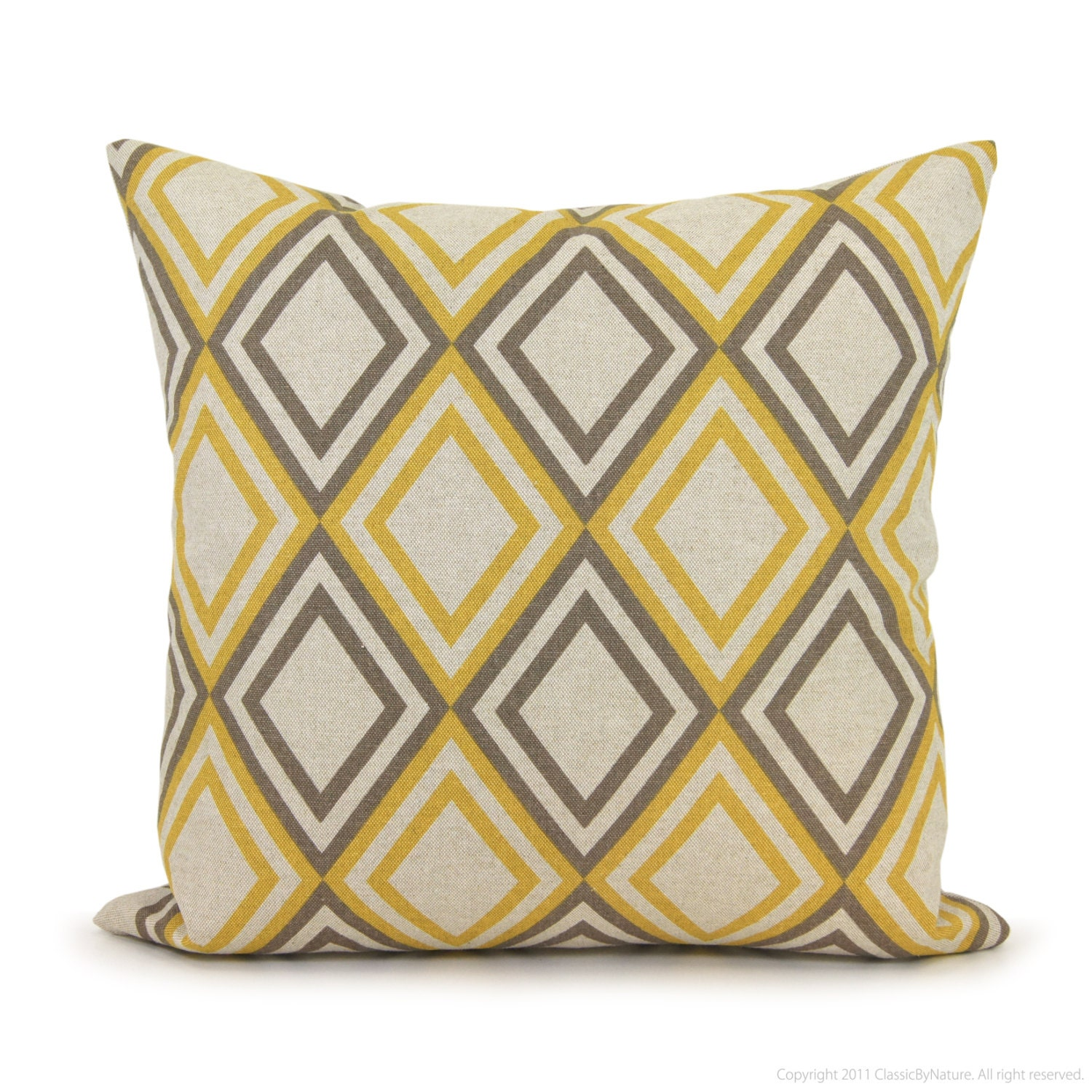 Geometric decorative pillow cover in taupe gray by classicbynature - Jaune moutarde decor ...