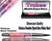 Handmade Wood Pen Ballpoint Pink and Blue Box Elder highest quality wooden writing pen